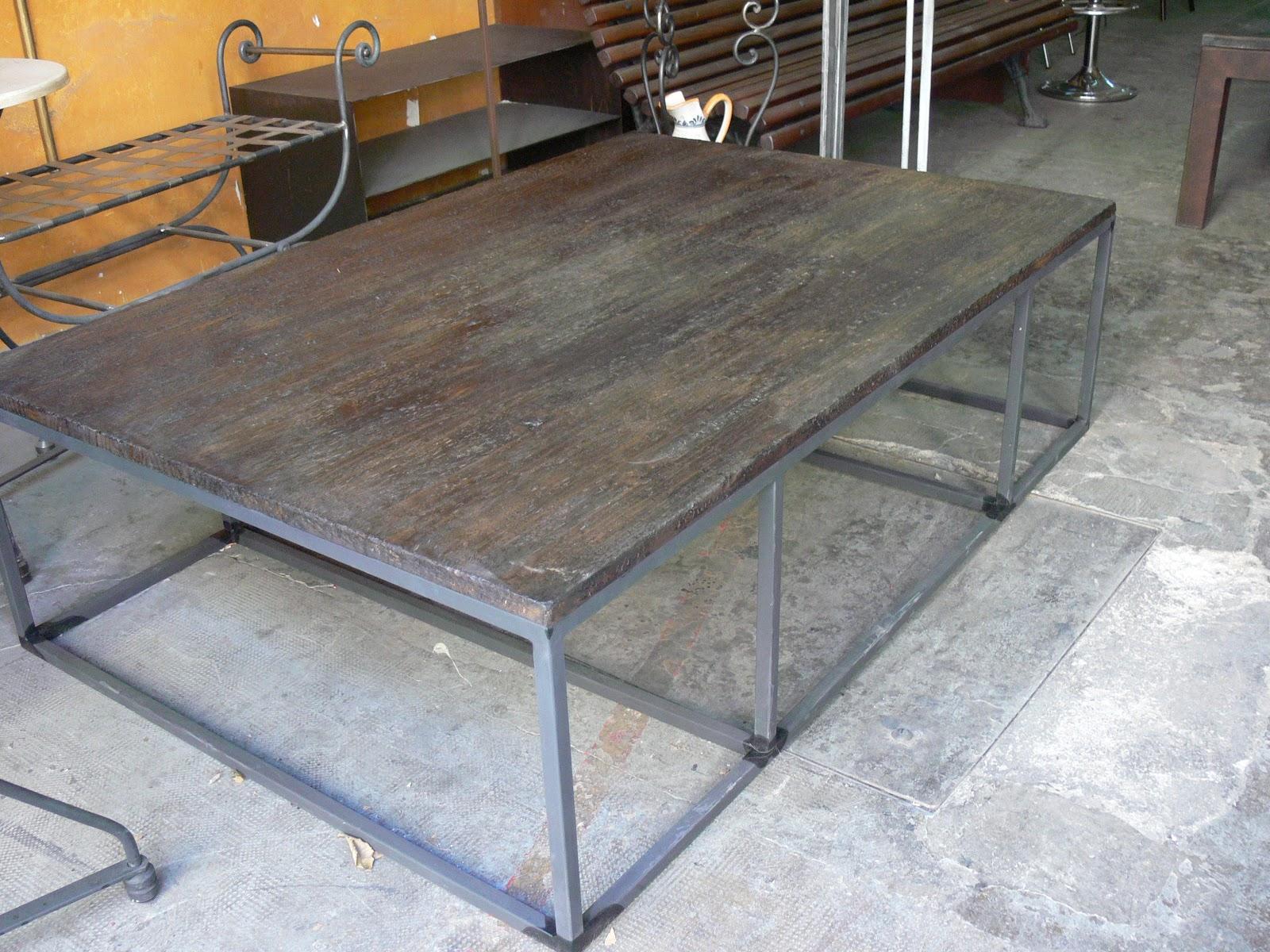 Mesas de centro de hierro y ruedas mesas y sillas de - Mesa de hierro ...